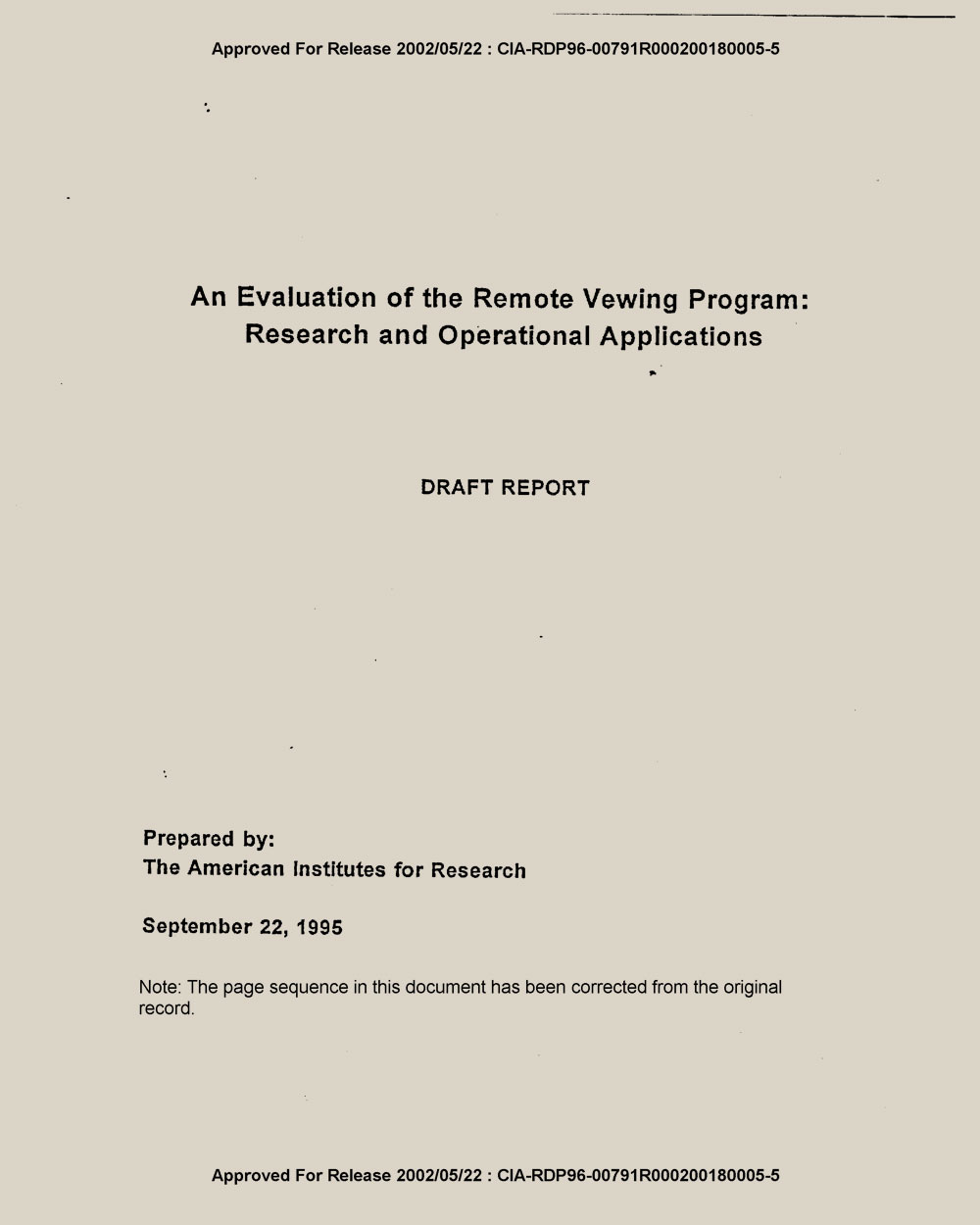 AIR Draft Reports   CIA document
