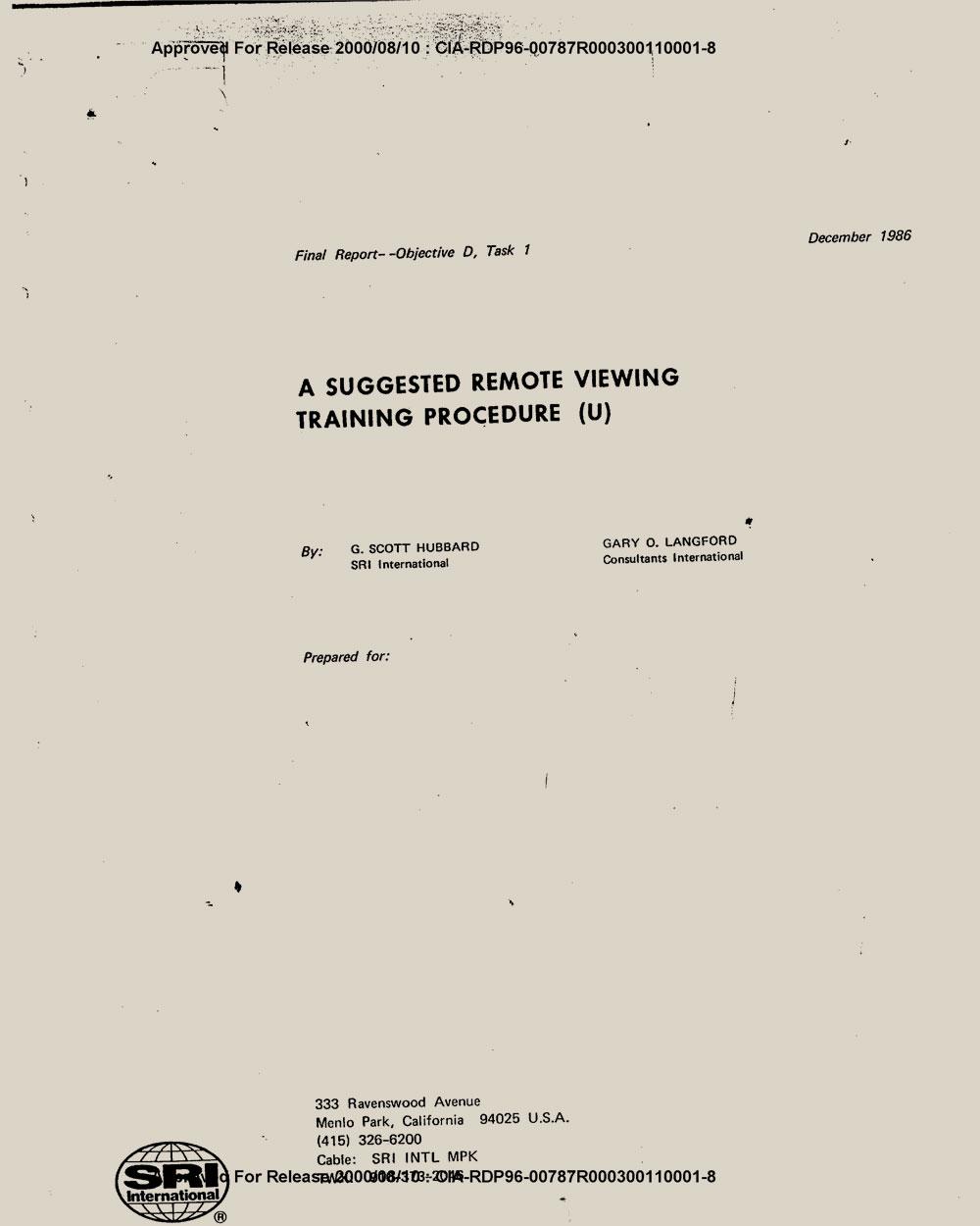 Training procedure   CIA document